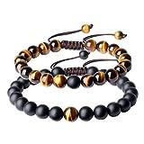 coai Bracelet Ajustable Couple Reiki Perles 8mm Pierres Semi-Précieuses Onyx Noir Mat Œil de Tigre Jaune Cordon Tressé Bijoux Fantaisie