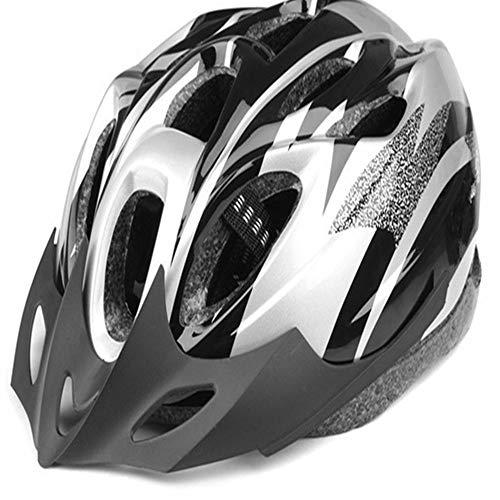 PKJI Fahrradhelm, Fahrradhelm, Mountainbike-Helm mit In-Mold Verstärkung, Skelett für zusätzlichen Schutz - Erwachsenengröße, bequem, leicht, atmungsaktiv Silber