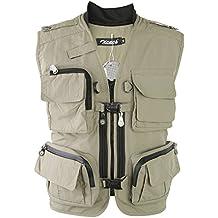 Zicac Multi-bolsillo Chaleco de Pesca y Fotografía al Aire Libre (caqui, Asia M (EU S))