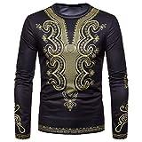 ZIYOU Herren Langarm Shirts Herbst Winter, Afrikanischen 3D Drucken Pullover Rundhals Sweatshirt Tops(L,Schwarz)