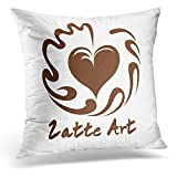 TEPEED Decorative Pillow Cover Aflutter Swing Heart Coffee Latte Symbol with White Beverage Throw Pillow Case Square Home Decor Pillowcase 18x18 Inches