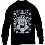 Kids Weihnachten Fussball Schneemann Winter Pulli Kinder Pullover Sweatshirt XS 98/104 (3-4J) Schwarz