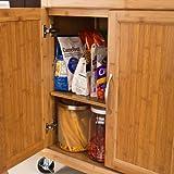 SoBuy® Luxus-Küchenwagen aus hochwertigem Bambus mit Edelstahltop, Küchenschrank, Kücheninsel B66xT46XH90cm FKW13-N - 6