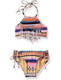 231bc8e75f Hobie Girls' Big High Neck Crop Top & Adjustible Hipster Bottom Swimsuit Set