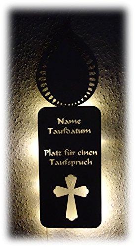 Taufkerze Kerze I für Taufe Kommunion mit Namen Datum bedruckt personalisiert I Led Holz Geschenk Mädchen Junge Baby