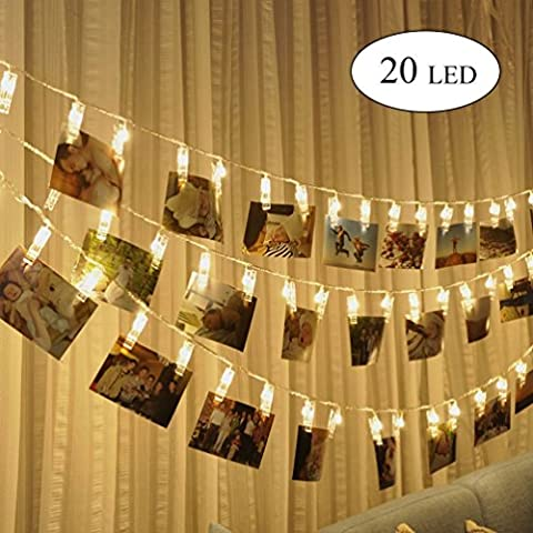 KNONEW LED Photo Clip String Lights - 20 Photo Clips