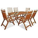 IND-70573-BASE7AUHL Gartenmöbel Set Bangor, Garten Garnitur Sitzgruppe aus Holz mit Polsterauflagen - 13-teilig - Tisch + 6 x Stuhl klappbar + 6 x Comfort Auflage beige kariert