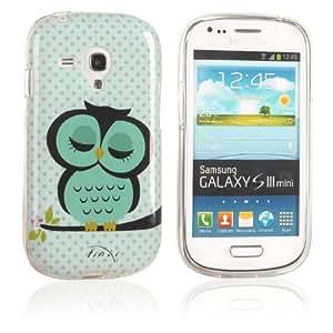 tinxi® Schutzhülle für Samsung Galaxy S3 Mini I8190 Hülle TPU Silikon Rückschale Schutz Hülle Silicon Case mit Eule Owl Muster in Hellgrün