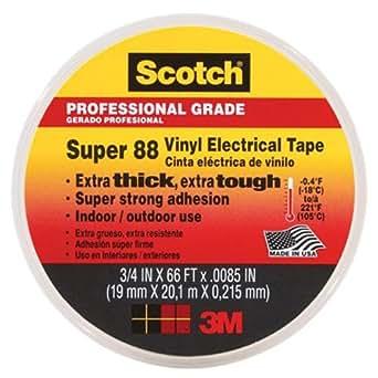3M 80610833867 88 Scotch Super Ruban Vinyle d'Isolation Electrique Hautes Performances, 19 mm x 20 m, Noir