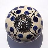 Blanco antiguo redondo con tallo y azul puntos (accesorios de cromo) armariete tiradores de pomos de porcelana MirrorOutlet