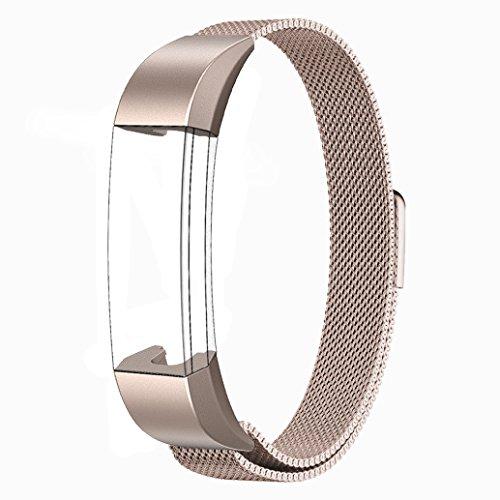 Fitbit Alta HR und Alta Armband Sport, Swees Edelstahl Uhrenarmband Mailänder Magnetschleife Edelstahlband Ersatz Armband Für Fitbit Alta HR und Alta - Champagne