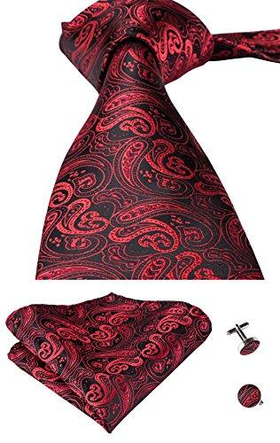 hi-tie Paisley Krawatte Taschentuch Manschettenknöpfe Set Jacquard Gewebte Seide Krawatte, Rot, GCID-0314