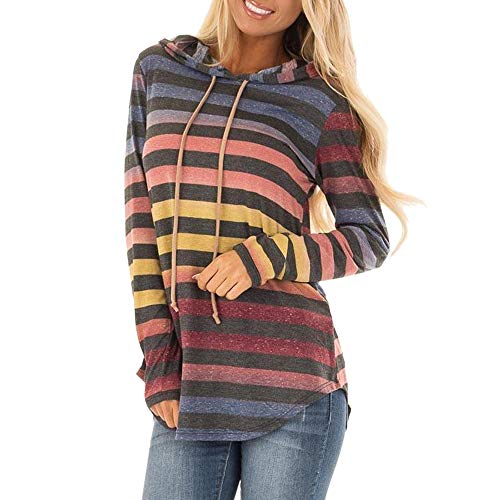 UFACE Damen Streifen Winter Lose Langarm Hoodie Locker Sweatshirt mit Kapuze Pullover Tops Bluse Frauen