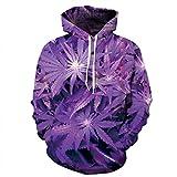 3D Hoodie 3D Purple Weed foglie stampate felpa Hip H incappucciati Sweatsuits Tops taglia S-XXXL Colore immagine M