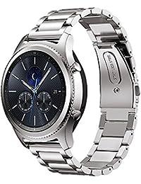MroTech Bracelet Montre 22 mm Compatible pour Samsung Gear S3 Frontier/Classic, Galaxy Watch 46mm,Amazfit Stratos,Ticwatch Pro,Huawei Watch 2 Classic,Fossil 22mm Bande de Remplacement (Acier Argent)