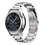 MroTech Compatible para Gear S3 Classic 22mm Correa de Reloj Acero Inoxidable Pulseras de Repuesto para Gear S3 Frontier, Galaxy Watch 46mm, Moto 360 2 46mm, Pebble Time, Amazfit Pace Stratos (Plata)