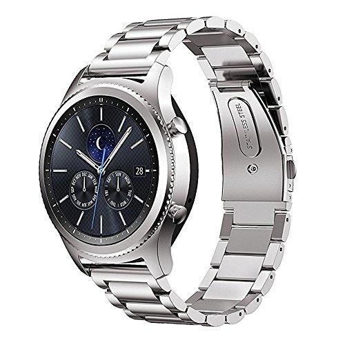 MroTech Metallarmband für Gear S3 Armband, 22mm Edelstahl Uhrenarmband Ersatz für Samsung Gear S3 Frontie/Classic, Pebble Time, Moto 360 2nd Gen 46mm, LG G Watch R und 22 mm...