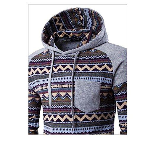Herren Langarm mit Kapuze Ethno-Stil bedruckt Baumwolle Pullover Sweatshirts Hellgrau