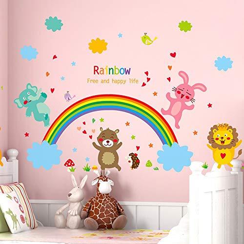 Xiongxi adesivi per porte adesivi murali simpatici adesivi arcobaleno animali parco giochi per bambini cameretta camera da letto asilo decorazione murale