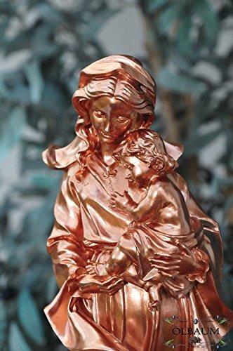 12 - 13 cm,KUPFER-farben Metallglanz, Schöne große Madonna, Liebevolle Frau Mutter Jesu, Madonna Mutter Gottes mit lustigem, aufgeweckten Jesus-Kind, mit Kleid / Umhang, als uraltes Symbol des christlichen Glaubens - alle ÖLBAUM HEILIGEN- und Krippenfiguren zeichnen sich durch extrem sauber gearbeitete und präzise Gesichtszüge der Figuren aus, massive, langlebige colorierte Holzfiguren- bzw. Echtholzimitate und standfest, mit Sockel
