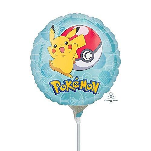 Amscan 3633509 Pokemon Mini Folienballons auf Stäbchen (5er Pack)