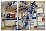 ABC MEUBLES - Letto a soppalco Sylvia con scala di mugnaio - 1130 - Grigio alluminio/Blu, 120x200