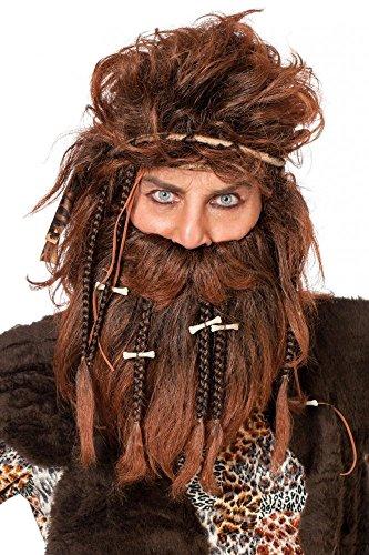Herren-Perücke Urmann mit Bart und Knochen für Kostüm Höhlenmensch Neandertaler (Kostüme Caveman Perücke)