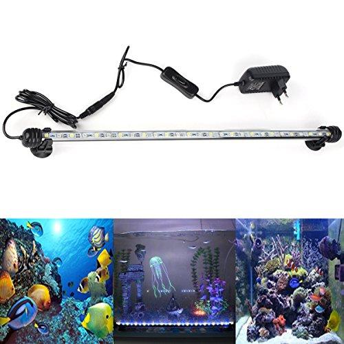 DOCEAN Aquarium LED Beleuchtung Leuchte Lampe 27 LEDs 5050SMD 48CM Lighting für Fisch Tank EU Stecker weißlicht & Blaulicht Wasserdicht [Energieklasse A++]