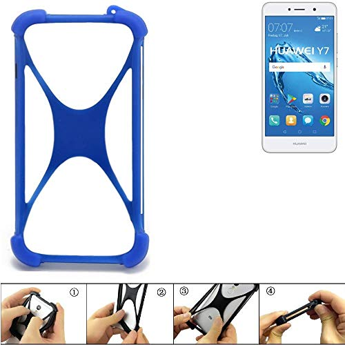 K-S-Trade Handyhülle für Huawei Y7 Dual SIM Silikon Schutz Hülle Cover Case Bumper Silikoncase TPU Softcase Schutzhülle Smartphone Stoßschutz, blau (1x)