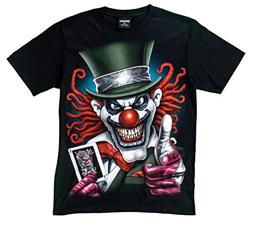 T-Shirt 3D Glow IN Dark Tier Mann Unisex (Large, Joker2 with Card (Green Hat))