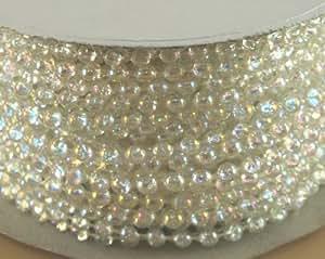 4 mm imitation perle-Perles en plastique sur un fil Craft Rouleau Irridescent (Transparent)