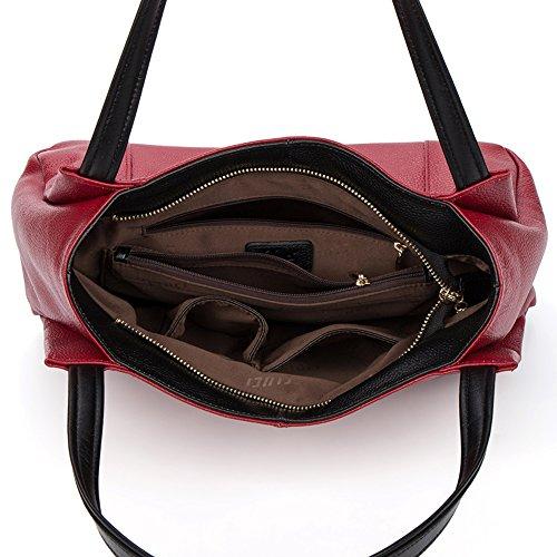 CLUCI Damen Leder Handtasche Umhängetasche Schultertasche Tote Bag Schwarz-b Rot