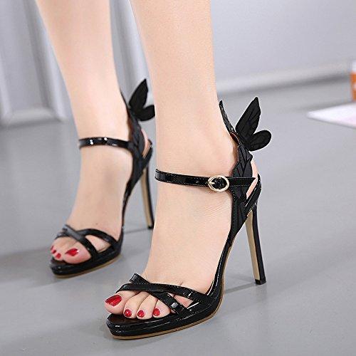 GS~LY Regali Festa della mamma L Europa e gli Stati Uniti angel wings decorate con tacco alto sandali di colore Silver