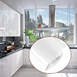 Kitchen Cupboard Doors Units Wall Draws Cover Self Adhesive Gloss Matt (61cm*10m, White)