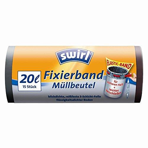 Preisvergleich Produktbild swirl® Müllbeutel/ 4006508174201, 20 l, schwarz, Fixierband, Inh. 15