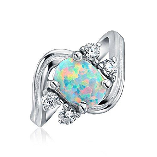 Bling Jewelry Zirkonia Akzent 925 Sterling Silber Vintage-Stil Cz Oval Erklärung Weiß Opal Verlobungsring Für Damen - Cz-verlobungsringe Vintage Stil