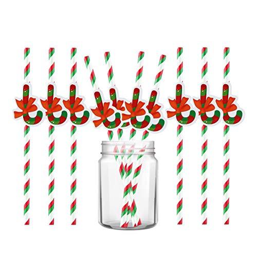 (Womdee Weihnachts-Trinkhalme, biologisch abbaubar, Papier-Strohhalme, Weihnachtsfeier, gestreift, dekorative Strohhalme, 10 Stück Candy Cane X 10)