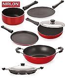 Nirlon Non-Stick Aluminium Cookware Set, 6-Pieces, Multicolour (FT12CTFP12KD13SPBAP) Amazon