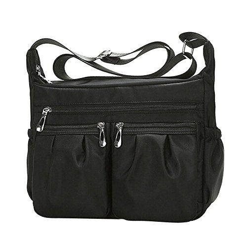 Beikoard -30% borsa a tracolla in nylon impermeabile con tracolla in nylon a colori solido moda donna(nero)