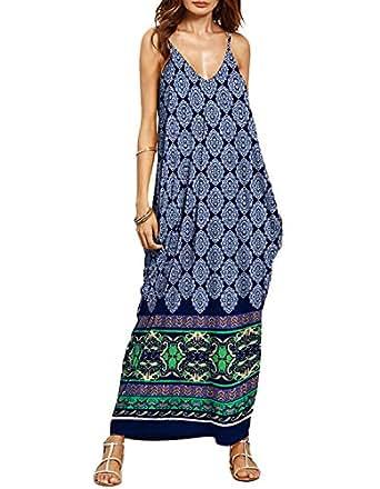 2fc65cb8821217 Luojida Sommerkleider Damen Lang Strand Schulterfrei Maxikleid Elegant Sexy  Blumendruck (S, Blau)