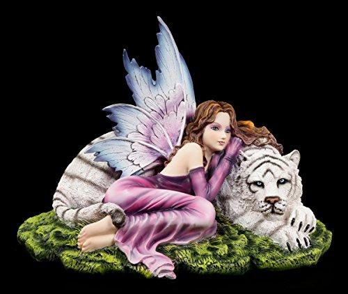 Elfen Figur liegend mit weißem Tiger und lila Kleid - Fee Fantasy Fairy
