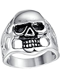 Daesar Joyería Anillo Compromiso, Acero Inoxidable Sortija para Mujer Hombre Vintage Gothic Skull Hollow, Grabado por Gratis
