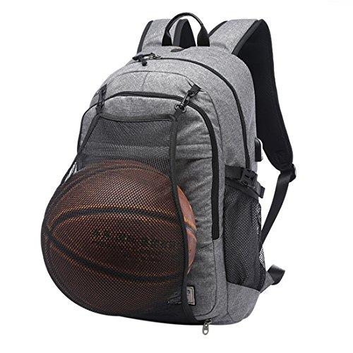 Basketball Tasche, Likeluk Multifunktion Basketball Sporttaschen mit Ballnetz und USB Lade-Port Rucksäcke für Laptop 15.6 zoll