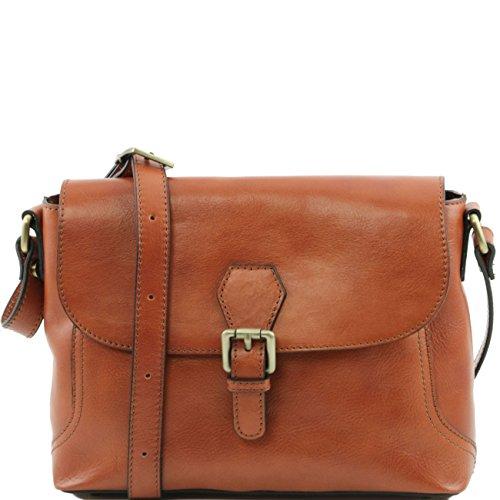 Tuscany Leather Jody Umhängetasche aus Leder mit Umschlag Dunkelbraun Honig
