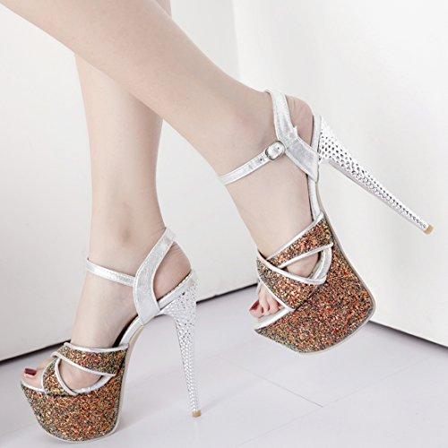 AIYOUMEI Damen Glitzer Knöchelriemchen Plateau Sandalen mit Schnalle Super High Heels Sommer Modern Schuhe bcN7bou