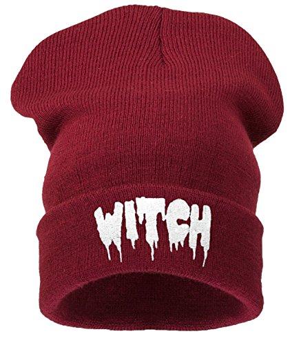 Beanie Hats Damen Strickmütze Schwarz witch dark red