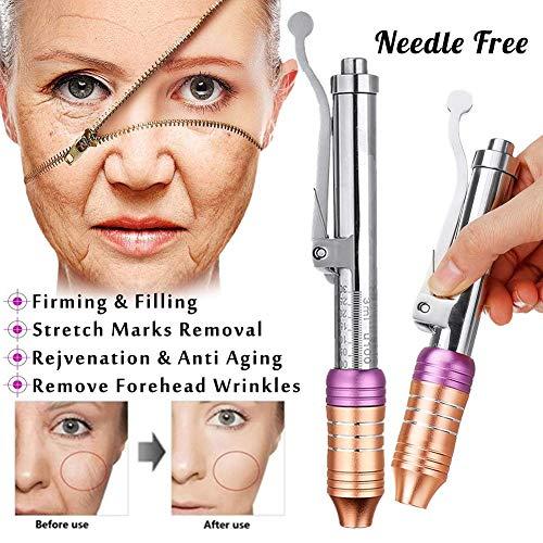 Straffende Peptid (Hyaluronic Injektion Stift Einstellbar Peptid Therapie Druck Acid Gun Faltenentfernung Wasser Spritze + 5er Ampulle)