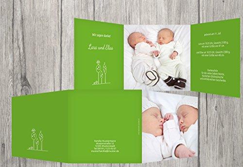 Kartenparadies Danksagung für Geburt Baby Dankeskarte Zwillinge Easy, hochwertige Danksagungskarte Baby inklusive Umschläge | 30 Karten - (Format: 145x145 mm) Farbe: Grasgruen