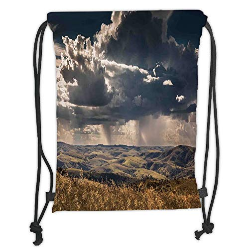GONIESA Drawstring Sack Backpacks Bags,Farmhouse Decor,Puffy Clouds in Sky Over Mountains Rough Valley Canyon Natural Wonders Concept,Multi Soft Satin,5 Liter Capacity,Adjustable String Closure