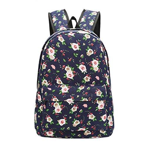 Unisex Korean Rucksack Floral Graffiti Print Leinwand Rucksäcke Frauen Schultertasche Schultertasche Mädchen Reise Soft Rucksack 03